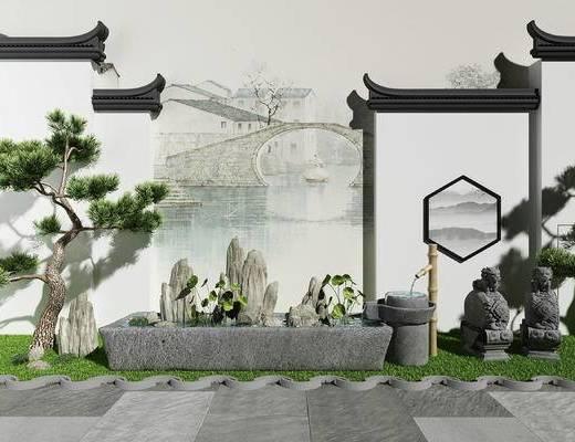 新中式, 园林, 小品, 假山, 盆栽, 松柏, 石槽