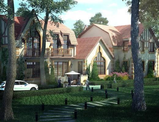 别墅, 园林, 现代别墅, 树林, 树木, 植物