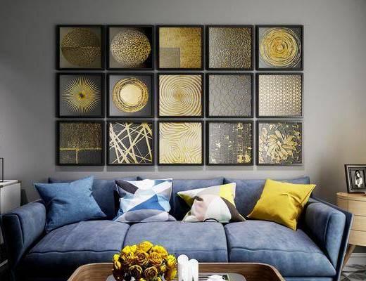 照片墙, 装饰画, 挂画, 多人沙发, 边几, 台灯, 现代