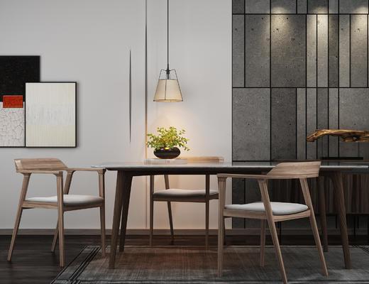 中式, 桌椅组合, 餐桌椅, 盆栽, 吊灯, 装饰画