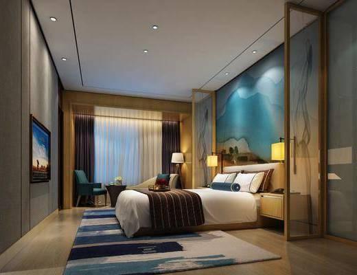 酒店客房, 新中式酒店客房, 床具组合, 双人床, 床头柜, 台灯, 摆件, 单椅, 圆几, 新中式