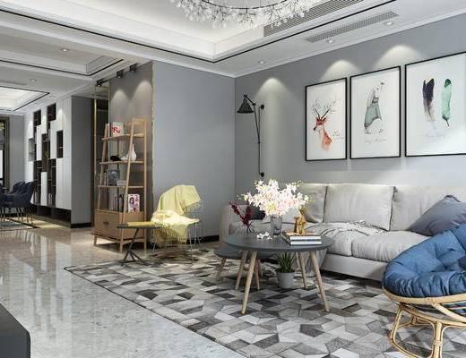 北欧, 沙发茶几组合, 装饰画, 麋鹿, 电视墙, 置物架, 餐桌椅组合, 地毯