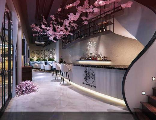 现代, 奶茶店, 樱花, 前台