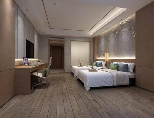 酒店客房, 双人床, 吊灯, 墙饰, 单人椅, 摆件, 装饰品, 陈设品, 新中式