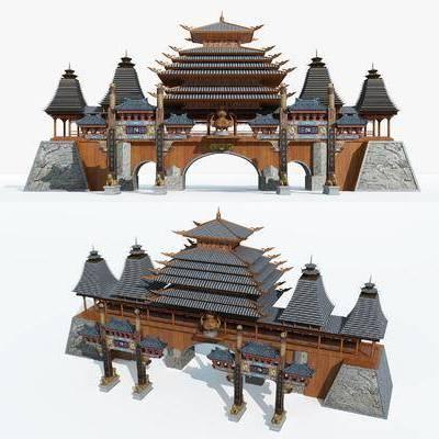 牌坊, 城楼, 门楼, 户外构件, 户外建筑, 中式牌坊, 中式城楼, 中式, 双十一