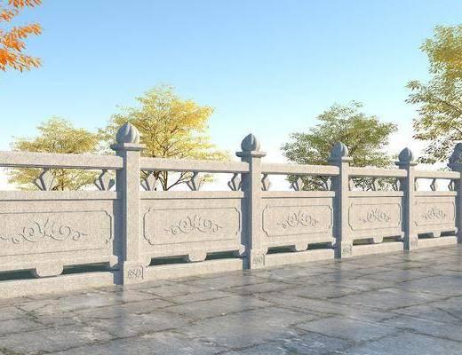 古建筑, 石雕汉白玉围栏, 白玉护栏, 园林景观小品, 石桥栏杆, 景观桥石栏杆