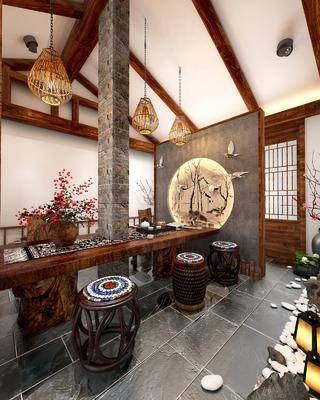 民宿茶室, 茶桌, 花瓶花卉, 凳子, 吊灯, 茶具, 摆件, 装饰品, 陈设品, 墙饰, 新中式