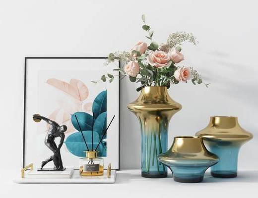 摆件组合, 装饰品, 花瓶, 装饰画