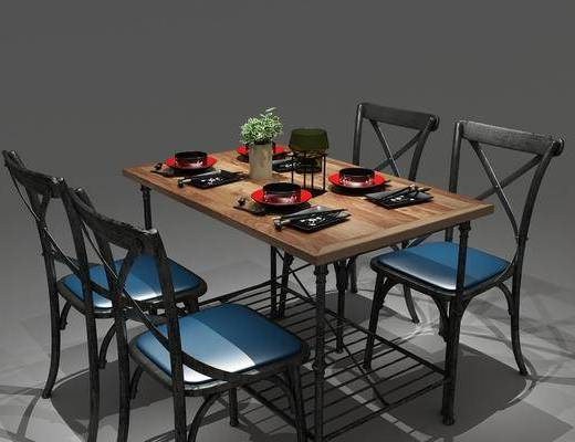 餐桌椅组合, 餐具组合, 工业风