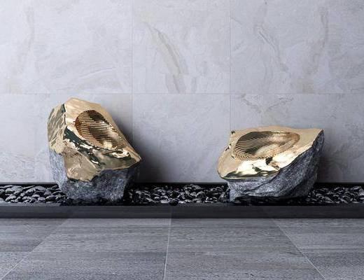 雕塑, 鹅卵石, 雕刻, 装饰品