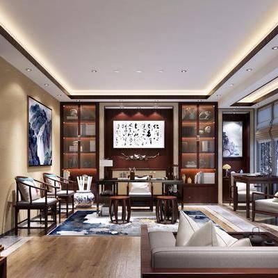 书房, 书桌, 单人椅, 办公椅, 装饰柜, 摆件, 装饰画, 挂画, 茶几, 中式