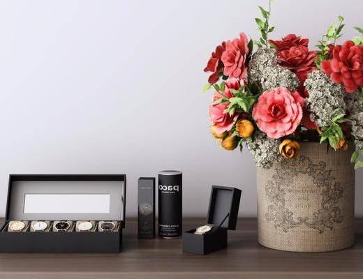 摆件组合, 花瓶花卉, 手表, 现代