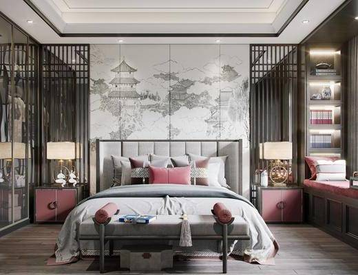 壁布, 挂画, 茶具, 衣柜, 床尾踏