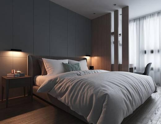 现代卧室, 床, 现代, 床头柜, 椅子