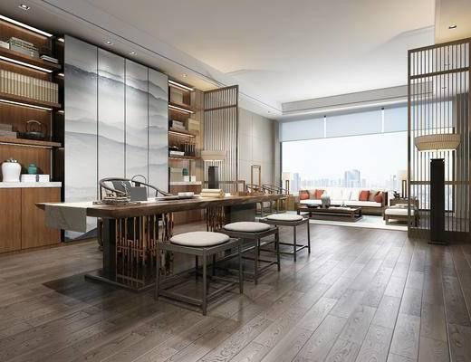 新中式, 书房, 书桌, 书柜, 木地板, 会客厅, 沙发茶几组合, 格栅, 落地灯, 硬包