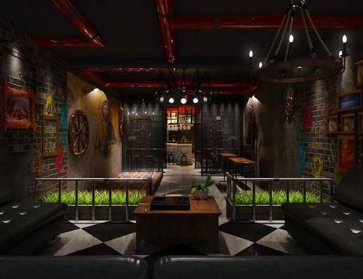 酒吧, 多人沙发, 转角沙发, 盆栽, 绿植植物, 墙饰, 组合画, 装饰画, 吊灯, 吧台吧椅, 单人椅, 工业风