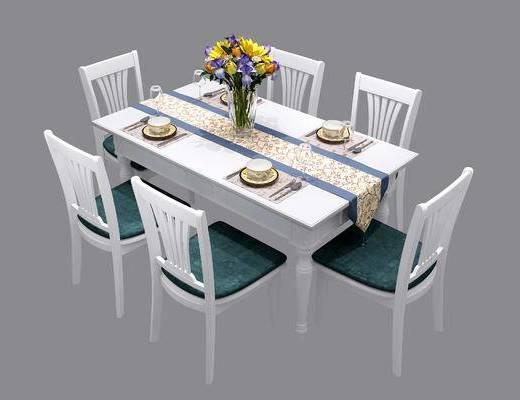 后现代, 餐桌, 椅子, 餐具, 花瓶, 植物, 刀叉
