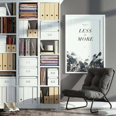椅子组合, 书柜, 书籍, 单椅, 装饰画