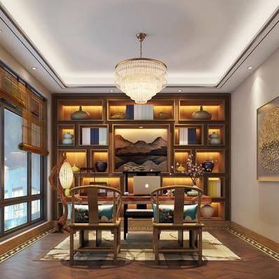 书房, 装饰柜, 摆件, 吊灯, 装饰画, 挂画, 书桌, 单人椅, 办公桌, 新中式