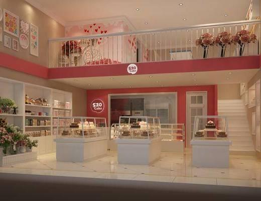 甜品奶茶, 蛋糕面包店, 食物柜, 食品, 花瓶花卉, 裝飾畫, 掛畫, 現代
