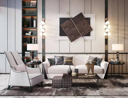 沙发组合, 单椅, 茶几, 墙饰, 壁灯, 边几, 台灯