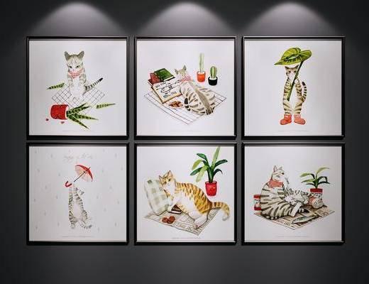 卡通装饰画, 猫咪装饰画, 挂画, 儿童房, 装饰画