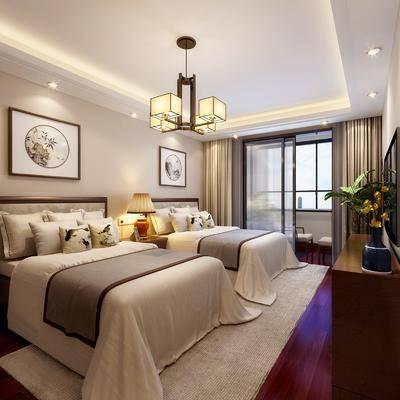 卧室, 双人床, 装饰画, 挂画, 吊灯, 边柜, 电视柜, 摆件, 装饰品, 陈设品, 新中式