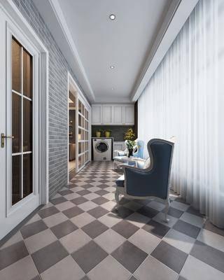 现代阳台, 现代, 阳台, 椅子, 洗衣机, 吊柜
