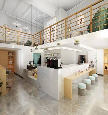 甜品店, 現代甜品店, 北歐, 現代, 前臺, 收銀柜臺, 單椅, 桌椅組合