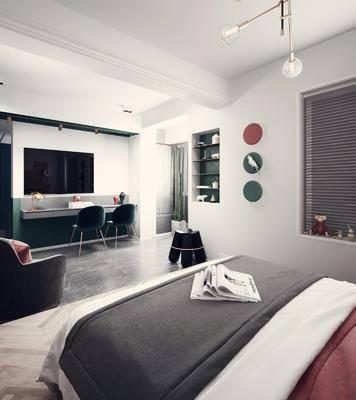 卧室, 双人床, 单人沙发, 墙饰, 吊灯, 装饰架, 摆件, 装饰品, 陈设品, 床头柜, 边几, 现代简约