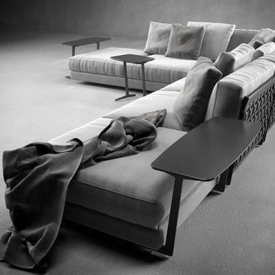 多人沙发, 转角沙发, 边几, 现代