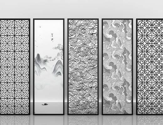 夹丝玻璃, 屏风隔断, 新中式