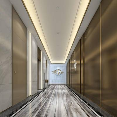 电梯厅, 大厅, 厅, 壁灯