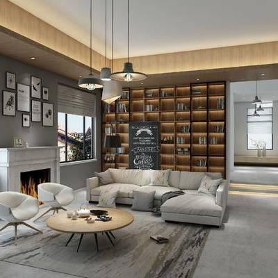 北欧客厅, 客厅, 沙发组合, 工业风客厅, 吊灯, 壁炉, 书柜, 北欧椅子