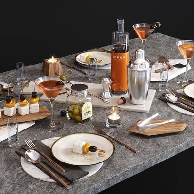 餐桌, 餐具组合, 食物