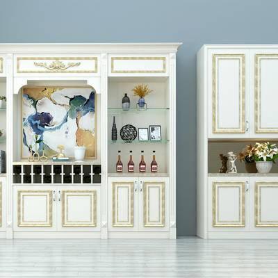 简欧, 酒柜, 现代, 装饰柜, 置物柜