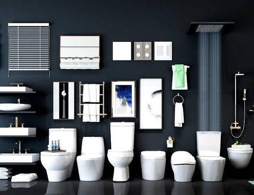 马桶, 卫生间, 现代卫生间, 花洒, 洗手盆, 毛巾架, 百叶窗帘, 百叶帘