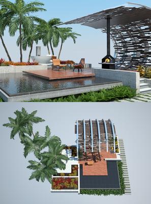 花园庭院, 树木, 植物, 草地, 单人椅, 休闲椅, 现代