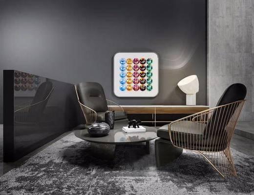 minotti, 客厅, 意大利, 现代, 沙发, 单人沙发, 休闲椅, 单椅, 茶几