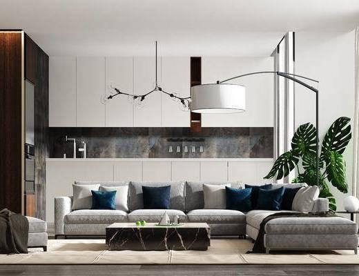 沙发组合, 落地灯, 茶几, 摆件, 盆栽植物