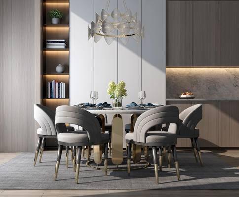 餐桌, 桌椅组合, 吊灯, 餐具组合, 桌花