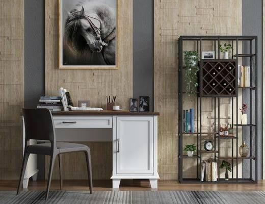 现代书桌, 书桌, 书桌椅, 椅子, 单椅, 休闲椅, 桌子, 装饰柜, 置物柜, 陈设品, 摆件, 盆栽, 装饰画, 挂画