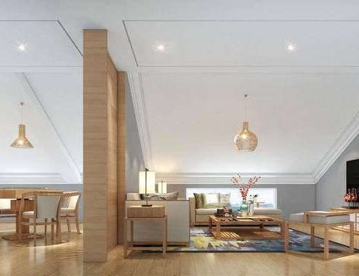 客厅, 沙发组合, 沙发茶几组合, 多人沙发, 餐桌椅, 现代客厅