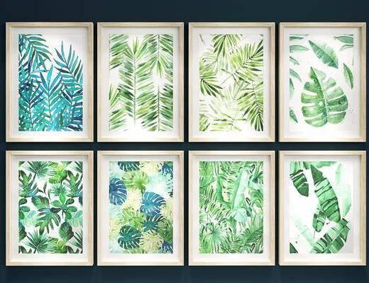 北欧植物树叶挂画组合, 挂画, 北欧