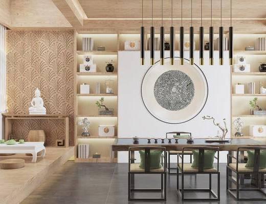 桌椅組合, 吊燈, 餐具組合, 置物柜, 墻飾