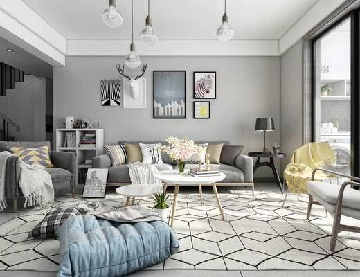 现代客厅, 北欧客厅, 布艺沙发, 装饰画组合, 吊灯, 北欧