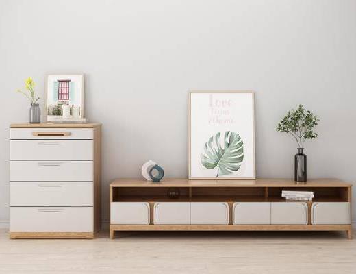 北欧电视柜, 现代边柜, 现代花瓶, 装饰画