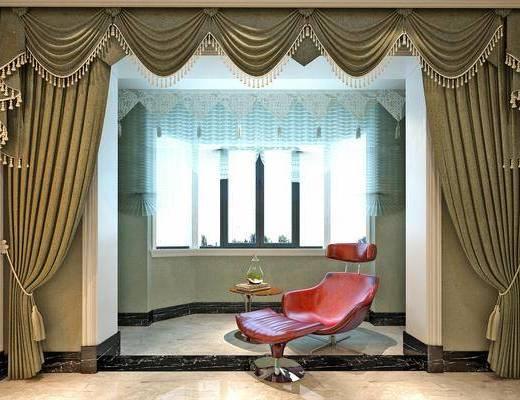 窗帘, 布艺窗帘, 单椅, 边几
