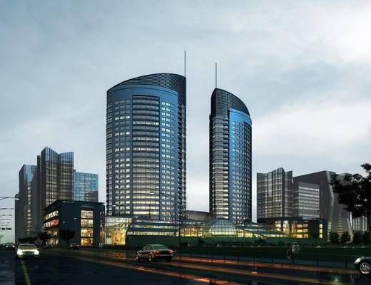 商业楼, 办公楼, 双子楼, 建筑, 汽车