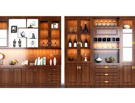 酒柜, 装饰柜, 摆件, 简欧